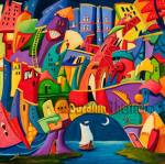 Suzanne Therrien, Ça va être la fête, acrylique, 20 x 20 po