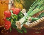 Suzanne Therrien, Échalotes et radis, acrylique, 8 x 10 po