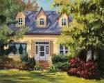Suzanne Therrien, La maison jaune, acrylique, 20 x 16 po