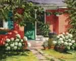 Suzanne Therrien, La maison aux hydrangés, acrylique, 16 x 20 po