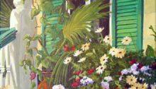 Suzanne Therrien, Le balcon de la boulangerie, acrylique, 21 x 14 po