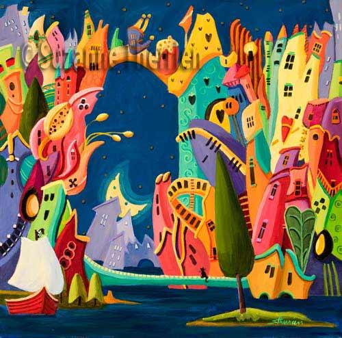 Suzanne Therrien, L'Ile des pirates, acrylique, 18x18 po