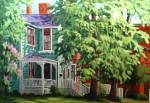 Suzanne Therrien, La maison turquoise, acrylique, 20 x 30 po.