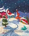 Suzanne Therrien, L'oiseau bleu, acrylique, 9 x 7 po