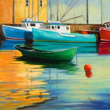 Suzanne Therrien, Port de Northwest Cove, acrylique