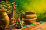 Suzanne Therrien, Poules au pots, acrylique, 18 x 27 po