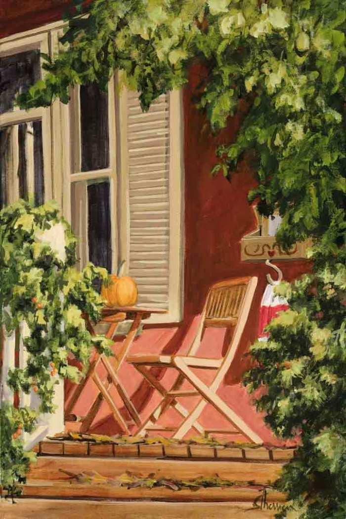 Suzanne Therrien, La saison des citrouilles, acrylique, 21 x 14 po