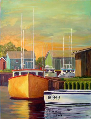 Suzanne Therrien, Le bateau jaune, acrylique, 24 x 16 po