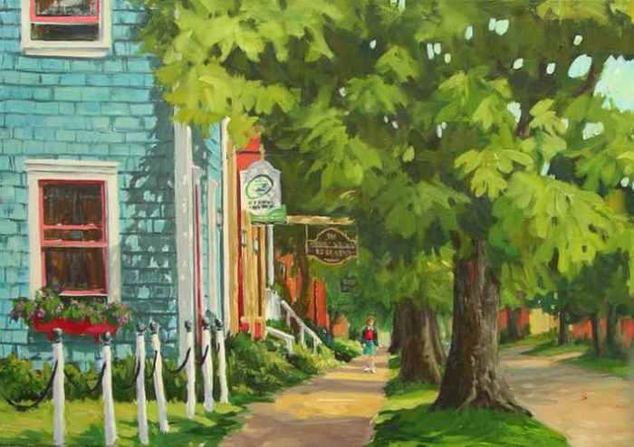 Suzanne Therrien , Rue de Charlottetown, acrylique, 20 x 30 po