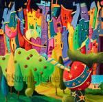 Suzanne Therrien, Le jeu de la tentation, 24 x 24 po, 1450 $