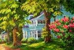 Suzanne Therrien, La maison bleue, acrylique,16 x 24 po