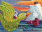 Suzanne Therrien, Vol d'oiseau, acrylique, 9 x 7 po