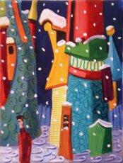 Suzanne Therrien, Neige sur la ville,8 x 6 po, techniques mixtes, 350 $