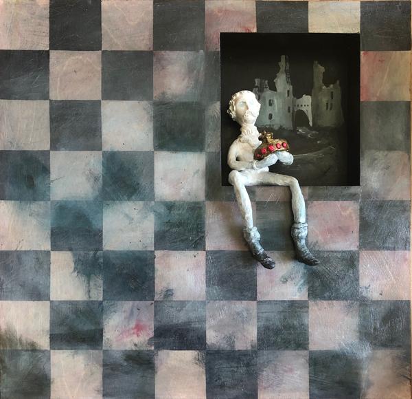 © Suzanne Therrien, Et après... , acrylique sur bois et argile de papier, 24 x 24 po, vendu